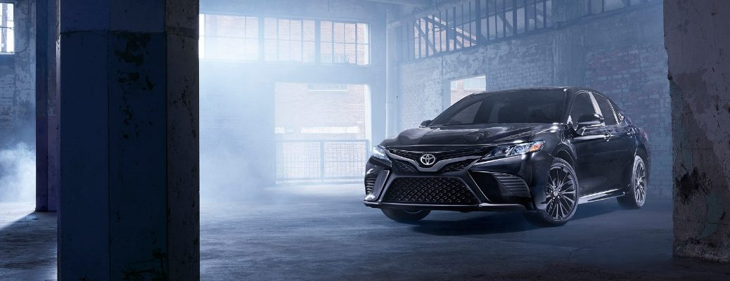 Black 2019 Toyota Camry Nightshade Edition Parked in Dark Garage