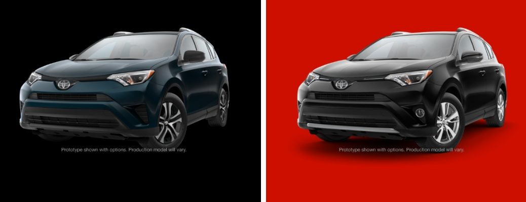 Green 2018 Toyota RAV4 LE on Black Background vs Black 2018 Toyota RAV4 XLE on Red Background