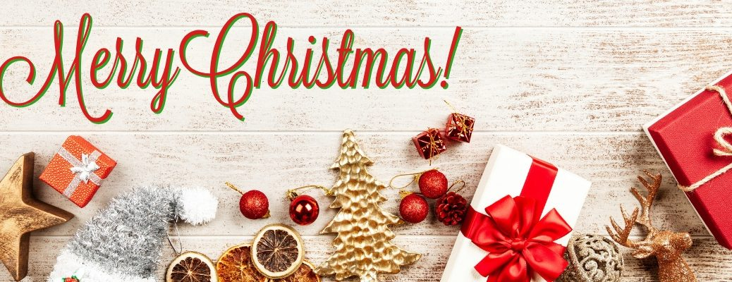 White Background with Red and White Christmas Gifts and Decorations with Red and Green Merry Christmas! Text