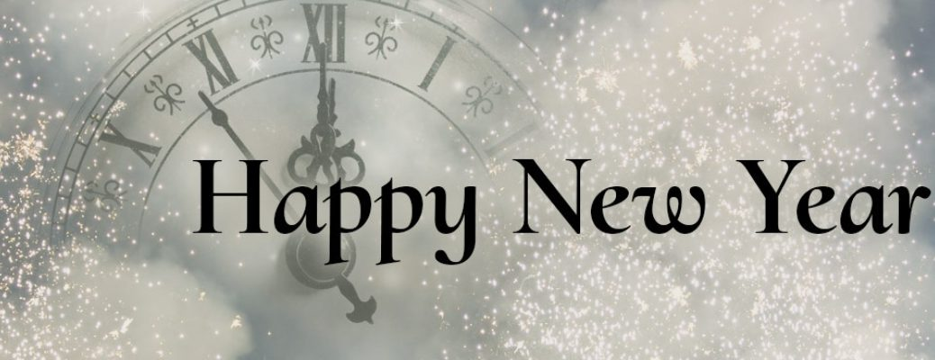 Silver and Sparkly Background with a Clock Face and Black Happy New Year Text