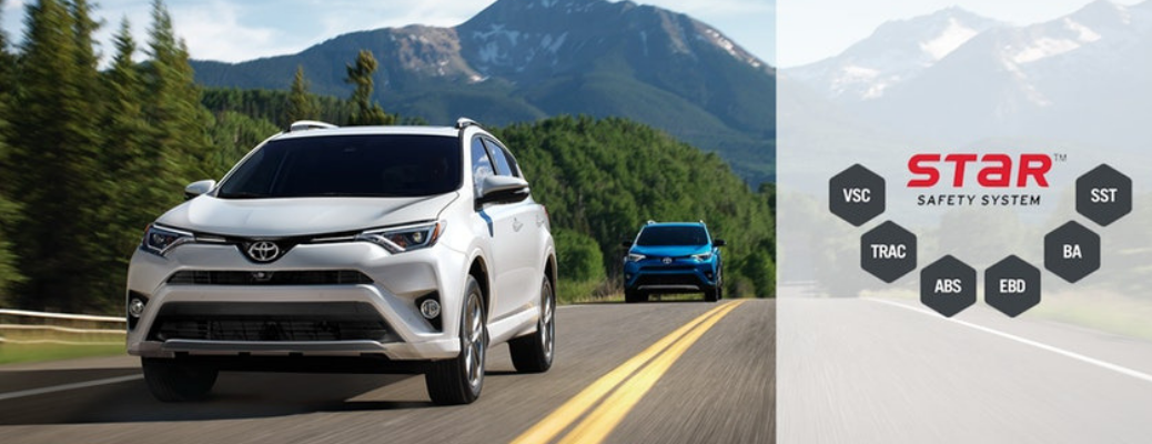 White and Blue 2018 Toyota RAV4 on a Country Highway with Star Safety Diagram on a White Background