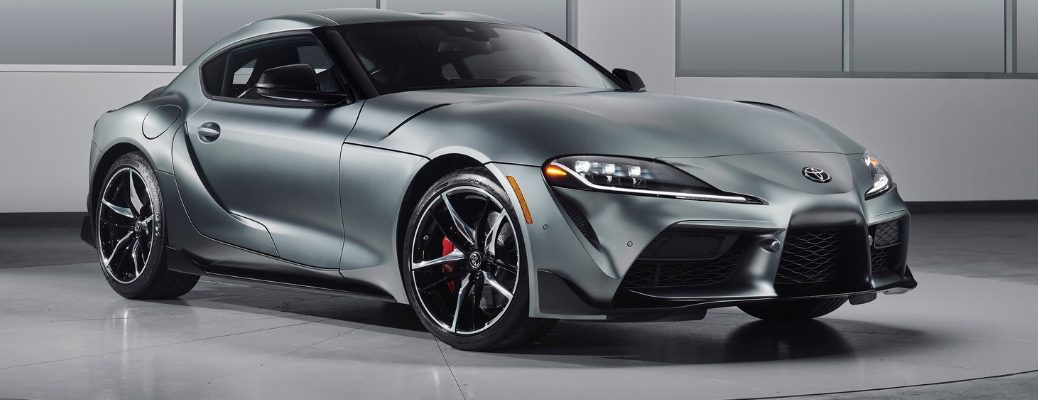 Gray 2020 Toyota Supra Front Exterior in a Showroom