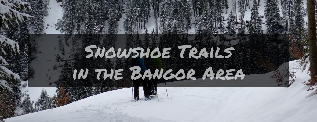 Couple Snowshoeing in the Woods with Dark Rectangle in the Foreground with White Snowshoe Trails in the Bangor Area Text