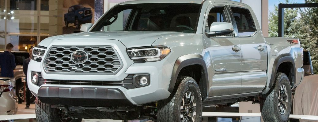 Gray 2020 Toyota Tacoma on Stage at the 2019 Chicago Auto Show