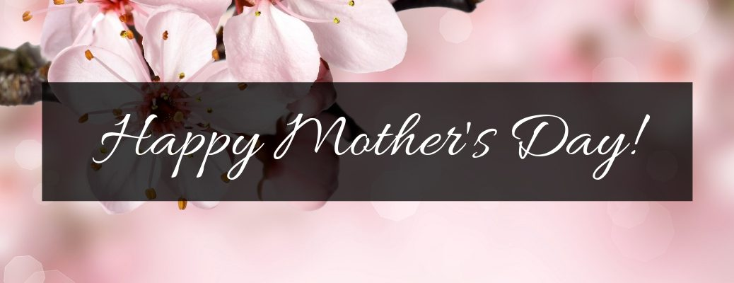 Pink Flower Background with Black Rectangle and White Happy Mother's Day! Text