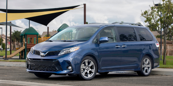 Blue 2018 Toyota Sienna at the Park