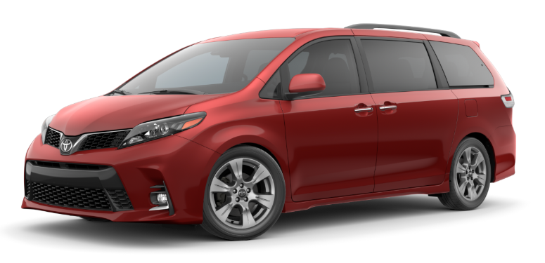 Salsa Red Pearl 2020 Toyota Sienna on White Background