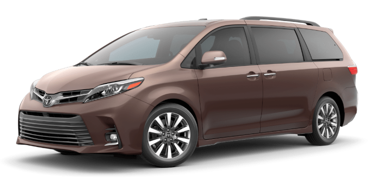 Toasted Walnut Pearl 2020 Toyota Sienna on White Background