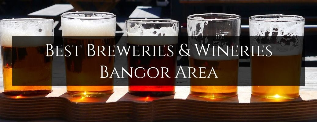 Flight of Beer on a Bar with Black Text Box and White Best Breweries & Wineries Bangor Area Text
