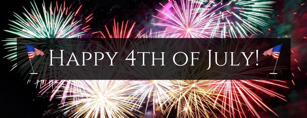 Colorful Fireworks in the Sky with Black Text Box, White Happy 4th of July! Text and Two American Flag Graphics