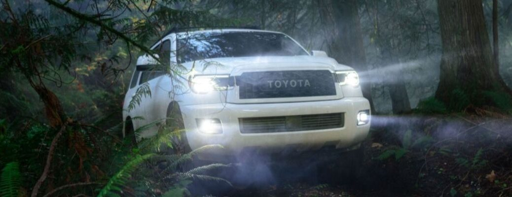 White 2020 Toyota Sequoia TRD Pro Front Exterior with Lights On in the Woods