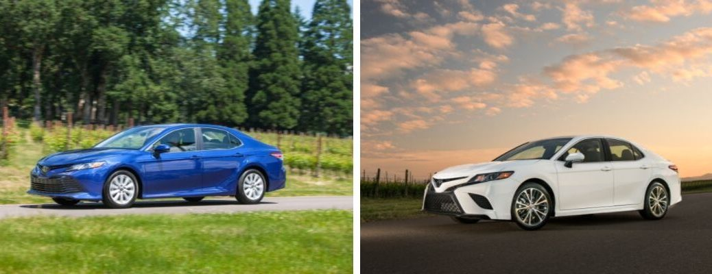 Blue 2019 Toyota Camry LE Front and Side Exterior on Country Road vs White 2019 Toyota Camry SE Front and Side Exterior at Sunset
