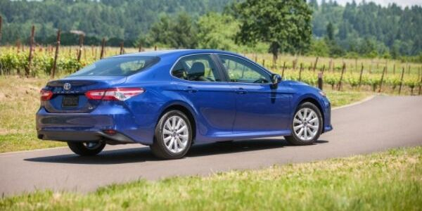 Blue 2019 Toyota Camry LE Rear Exterior on Country Road