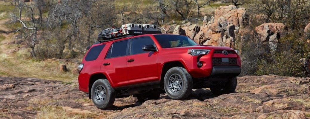 Red 2020 Toyota 4Runner Venture Edition on Rocky Trail