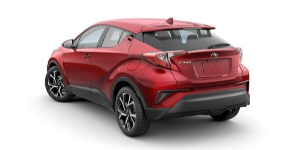 Red 2020 Toyota C-HR Rear Exterior on a White Background