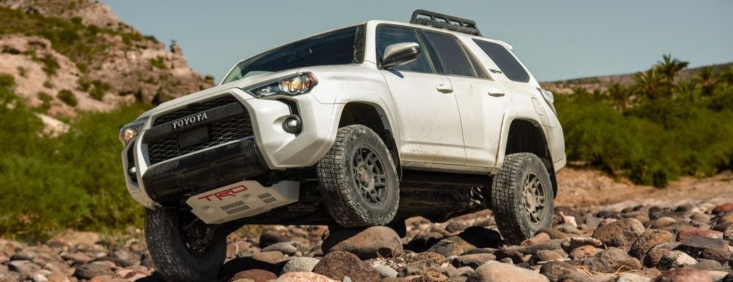 White 2020 Toyota 4Runner TRD Pro on Rocks