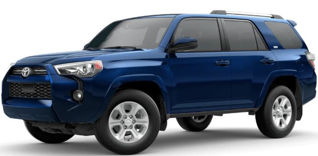 Nautical Blue Metallic 2020 Toyota 4Runner on White Background