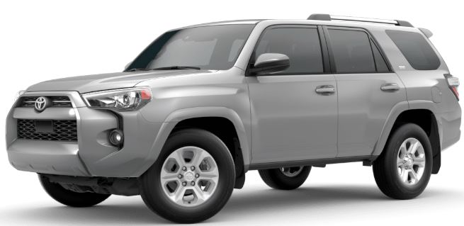 Classic Silver Metallic 2020 Toyota 4Runner on White Background
