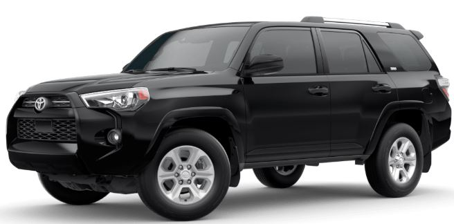 Midnight Black Metallic 2020 Toyota 4Runner on White Background