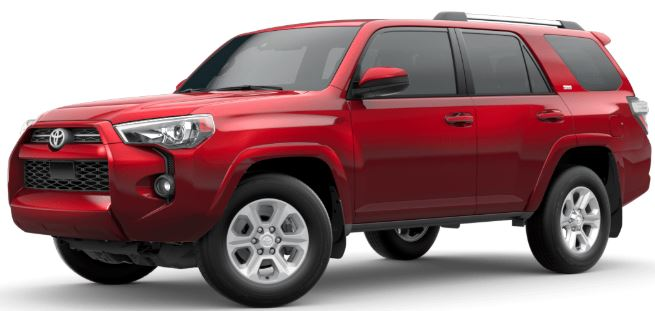 Barcelona Red Metallic 2020 Toyota 4Runner on White Background