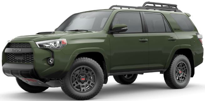 Army Green 2020 Toyota 4Runner on White Background