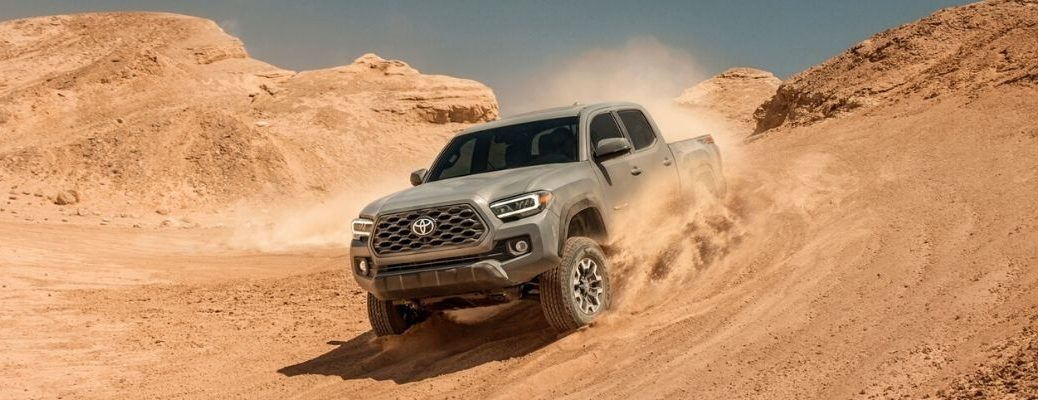 Gray 2020 Toyota Tacoma in a Desert