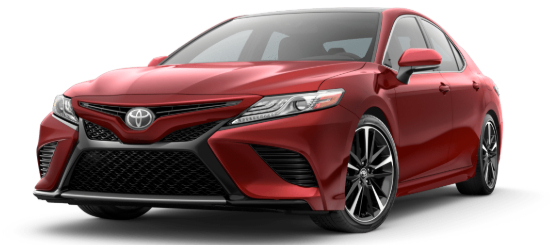Supersonic Red 2020 Toyota Camry on White Background