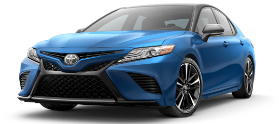 Blue Streak Metallic 2020 Toyota Camry with Midnight Black Metallic Roof on White Background