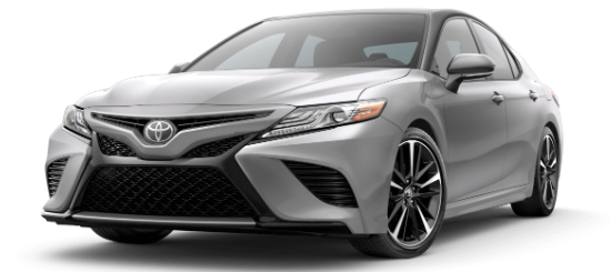 Celestial Silver Metallic 2020 Toyota Camry with Midnight Black Metallic Roof on White Background
