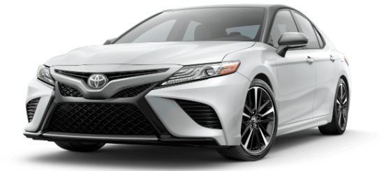Wind Chill Pearl 2020 Toyota Camry with Midnight Black Metallic Roof on White Background
