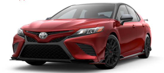 Supersonic Red 2020 Toyota Camry with Midnight Black Metallic Roof on White Background