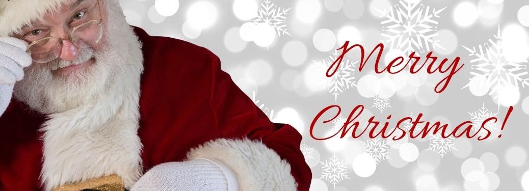 Santa Claus on White Snowy Background with Red Merry Christmas! Script