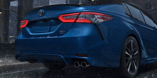 Close Up of Blue 2020 Toyota Camry AWD Rear Exterior
