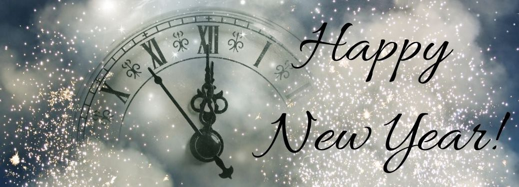 Silver Background with Clock Striking Midnight and Black Happy New Year Text