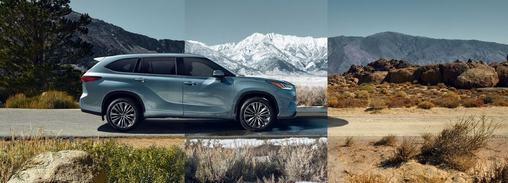 Blue 2020 Toyota Highlander in Different Climates Highway, Snow and Desert