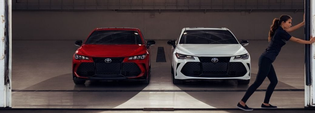 Red and White 2020 Toyota Avalon TRD Models in a Garage