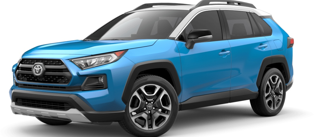 Blue Flame with Ice Edge Roof 2020 Toyota RAV4 on White Background