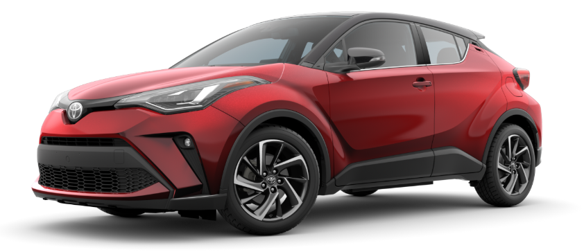 Supersonic Red R-Code Black 2020 Toyota C-HR on White Background