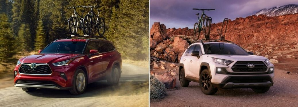 Red 2020 Toyota Highlander on a Country Road vs White 2020 Toyota RAV4 on Desert Trail