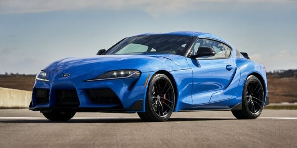 Blue 2021 Toyota GR Supra A91 Edition Front Exterior on a Track