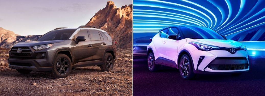Gray 2020 Toyota RAV4 TRD Off-Road on a Desert Trail vs White 2020 Toyota C-HR in a Blue Lighted Tunnel