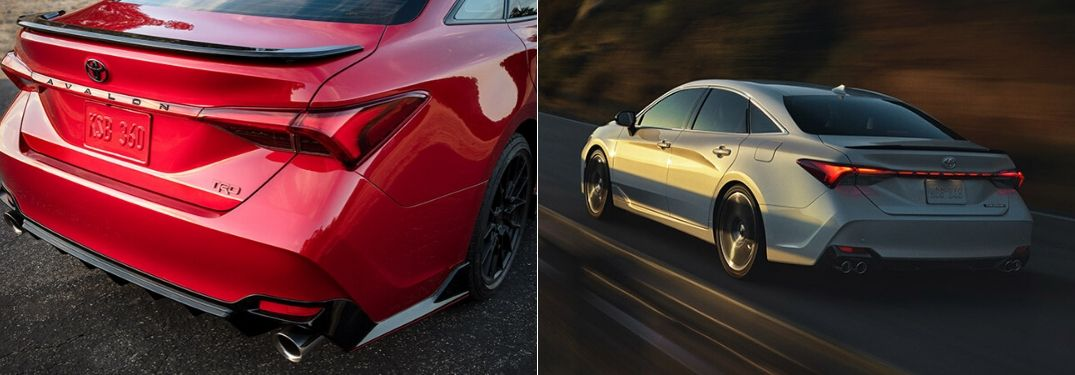 Red 2020 Toyota Avalon TRD Rear Exterior vs Silver 2020 Toyota Avalon Rear Exterior on Country Road