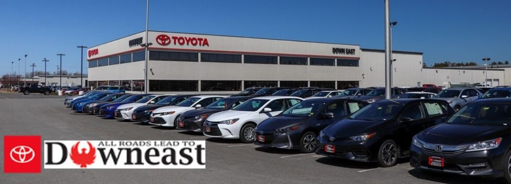 Toyota Vehicles and Downeast Toyota Building with Downeast Toyota Logo in Bottom Left Corner