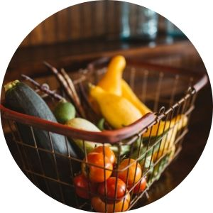 Close Up of Vegetables in a Shopping Basket