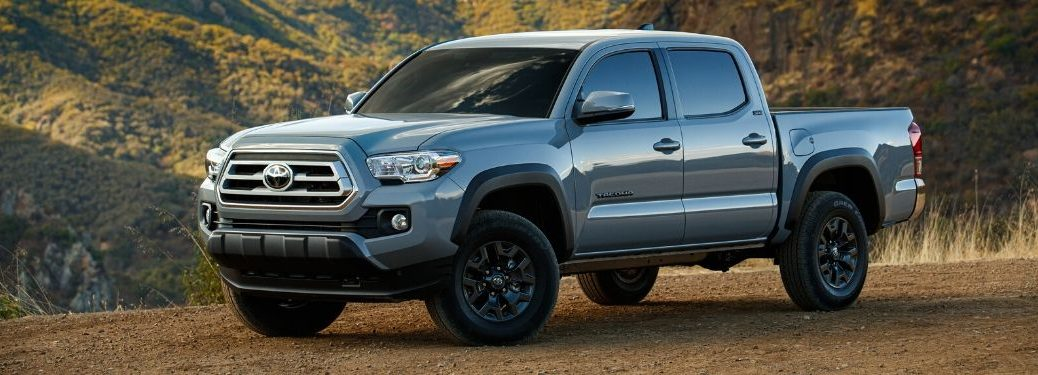 Gray 2021 Toyota Tacoma Trail Special Edition on a Trail