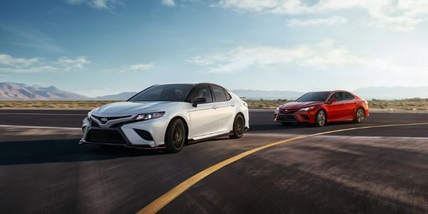 White and Red 2020 Toyota Camry TRD Models on a Track