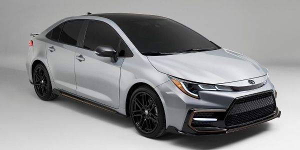 Silver 2021 Toyota Corolla Apex Edition Front Exterior on Gray Background