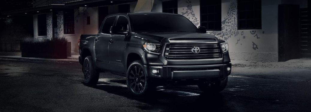 Gray 2021 Toyota Tundra Nightshade Edition on a Dark Street