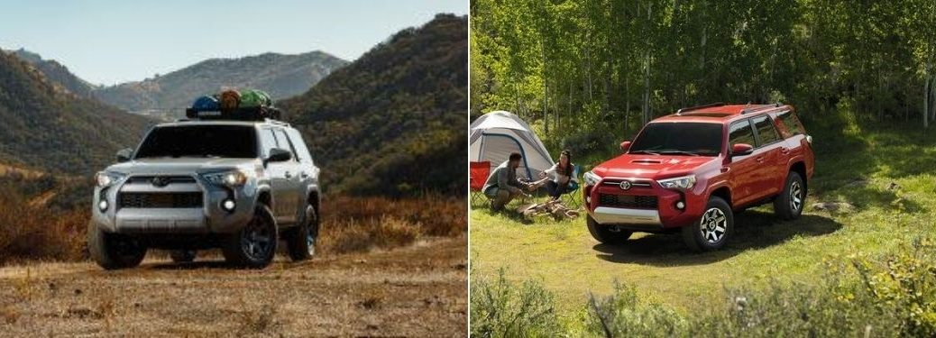 Gray 2021 Toyota 4Runner Trail Edition on Desert Trail vs Red 2020 Toyota 4Runner at a Campsite