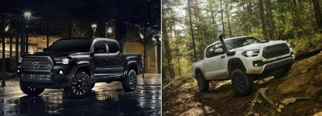 Black 2021 Toyota Tacoma Nightshade Edition on City Street vs White 2020 Toyota Tacoma TRD Pro on a Trail